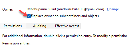 Advanced Security Settings Replace Owner On Subcontainers And Objects Check