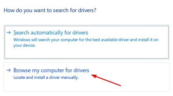 Browse Computer For Drivers Min
