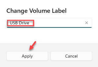 Change Volume Label Type A Desired Name Apply