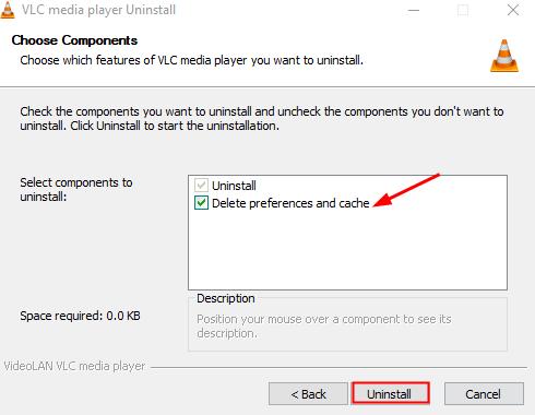Choose Componenets Uninstall