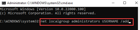 Command Prompt (admin) Run Command And Replace Username Enter