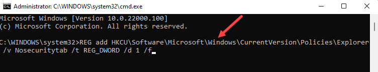 Command Prompt (admin) Run Command To Disable Security Tab Enter