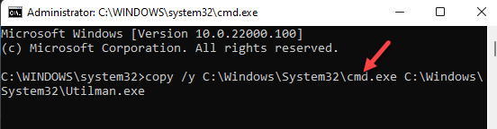 Command Prompt (admin) Run Command To Replace Utilman Program Enter