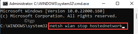 Command Prompt (admin) Run Command To Stop The Shared Network Enter