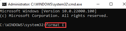 Command Prompt (admin) Run Comand To Format Storage Device Enter