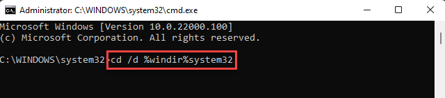 Command Prompt (admin) Run Command For System32 Enter