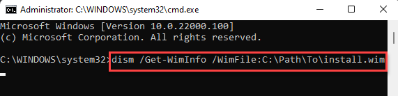 Command Prompt (admin) Run Command For The Actual Location Of The Wim File Enter