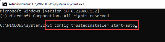 Command Prompt (admin) Run Command To Start The Windows Modules Installer Service Enter