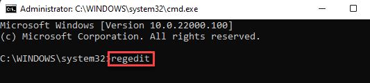 Command Prompt Regedit Enter