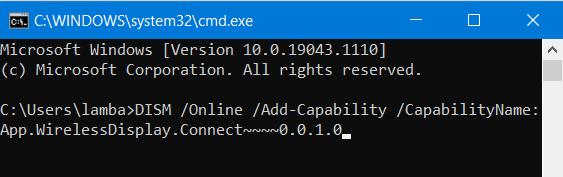 Command Propmt Wireless Display