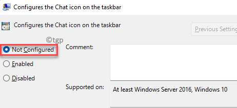 Configures The Chat Icon On The Taskbar Not Configured Apply Ok