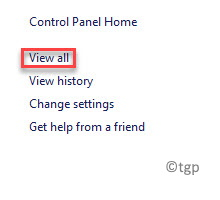 Control Panel Troubleshooting View All