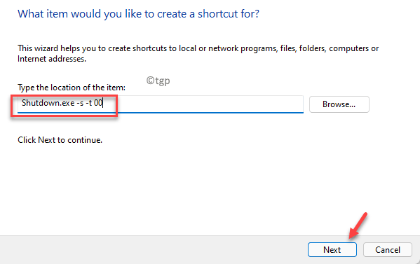 Create Shortcut Type The Location Of The Item Field Type Shutdown.exe S T 00 Next Min