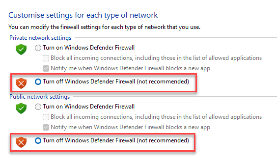 Customise Settings Private Network Settings Turn Windows Defender Firewall On Or Off Public Network Settings Turn Windows Defender Firewall On Or Off Ok Min