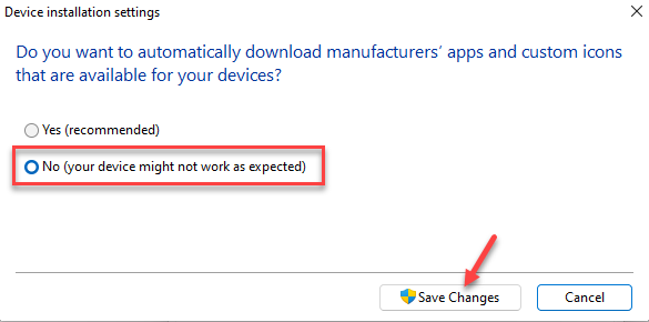 Device Installation Settings No Save Changes