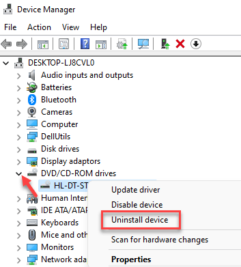 Device Manager Dvd Or Cd Rom Right Click On Driver Uninstall Min