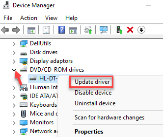 Device Manager Dvd Or Cd Rom Right Click On Driver Update Driver