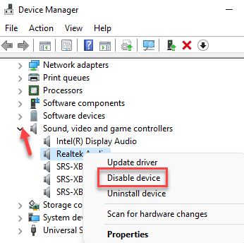 Device Manager Sound, Video And Game Controllers Right Click Disable Device