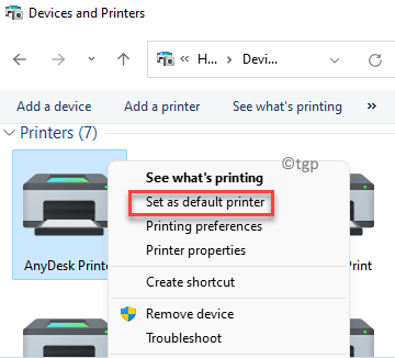 Device And Printers Printers Select Desired Printer Right Click Set As Default Printer Min