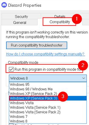 Discord Properties Compatibility Mode Min