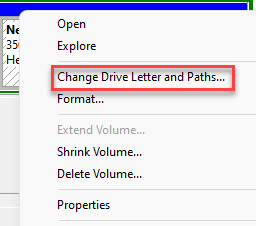 Disk Management Right Click On Drive Change Drive Letter And Paths
