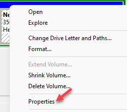 Disk Management Right Click On Drive Properties