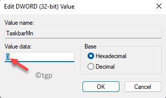 Edit Dword (32 Bit) Value Value Data 0 Disable Teams Chat Icon Ok