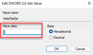 Edit Dword (32 Bit) Value Value Data 0 To Show File Extensions Ok