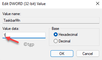 Edit Dword (32 Bit) Value Value Data 1 Enable Teams Chat Icon Ok