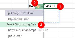 Excel Spill Error Slect Obstructing Cells