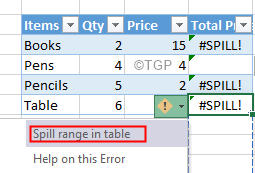 Excel Spill Error On A Table
