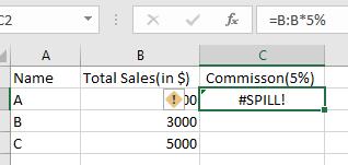 Excel Spill Error Range Is Too Big After