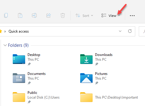 File Explorer View (layout And View Options)