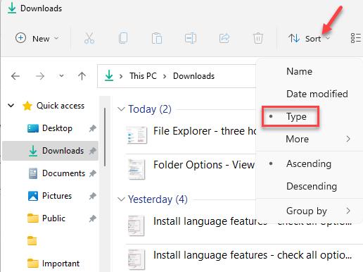 File Explorer Desired Folder Sort And Group Options Type Min