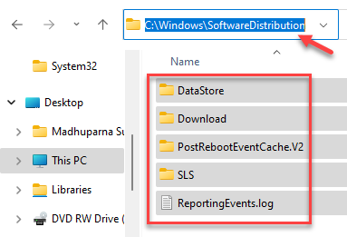 File Explorer Navigate To Softwaredistribution Folder Delete All Files And Folders