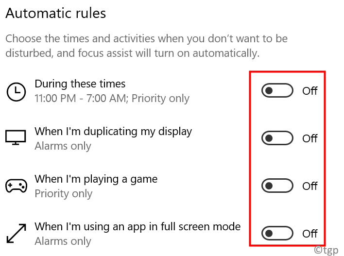 Focus Assist Automatic Rules Off Min