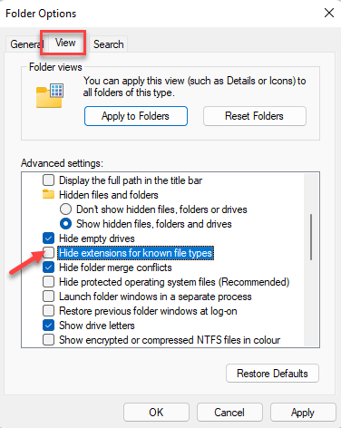Folder Options View Advanced Settings Hide Extensions For Known File Types Uncheck Apply Ok Min