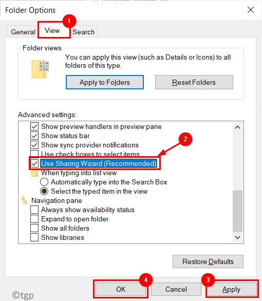 Folder Options View Sharing Wizard Min