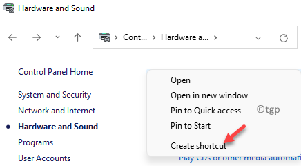 Hardware And Sound Devices And Printers Right Click Create Shortcut