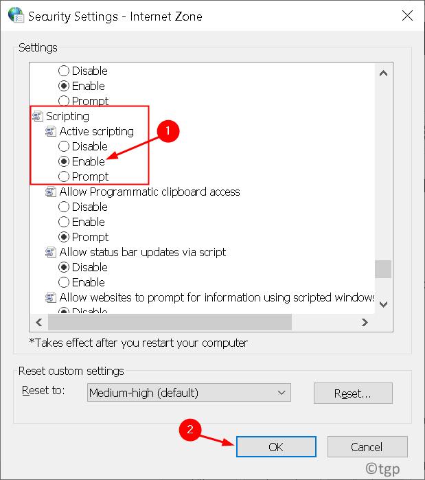 Internet Settings Active Scripting Enable Min