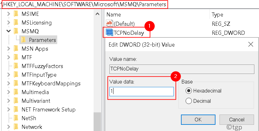 Msmq Parameters Tcpnodelay Min
