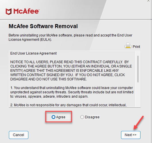 Mcafee Software Removal Agree Next Min