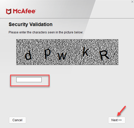 Mcafee Software Removal Security Validation Type Captcha Next Min