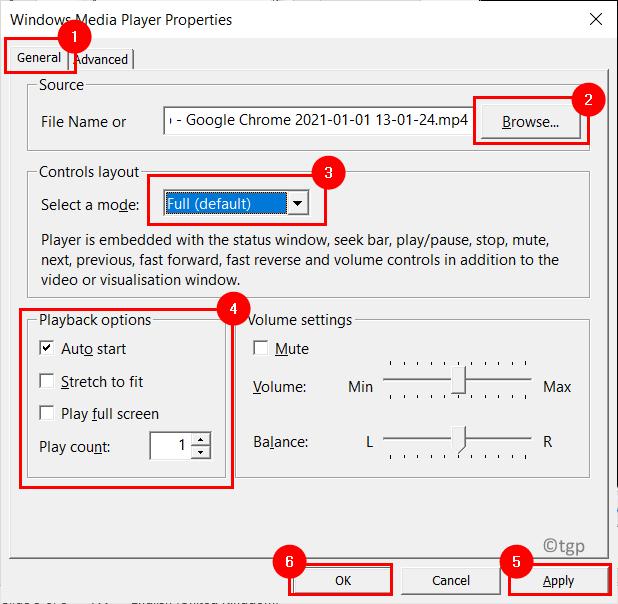 Media Player Properties Settings Window Min