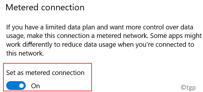 Metered Connection On Min