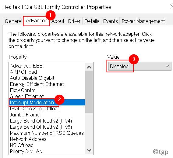 Network Adapter Interrupt Moderation Min