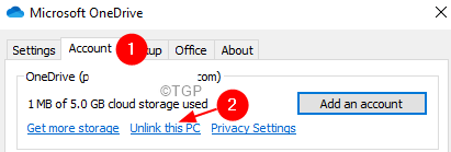 Onedrive Settings Accounttab Unlink This Pc