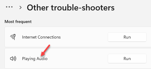 Other Trouble Shooters Most Frequent Play Audio Run