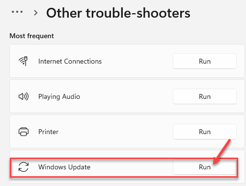 Other Troubleshooters Most Frequent Windows Update Run