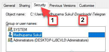 Permissions Group Or User Names User Name Min (1)
